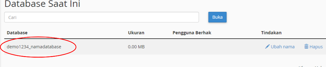 database di cpanel - namadb